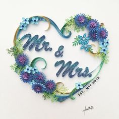 Handmade paper quilling Mr. & Mrs. made to order by SinyeeCraft