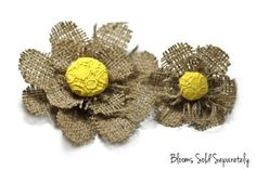 Natural Burlap Flower with Yellow Lace for by BurlapBlooms on Etsy,
