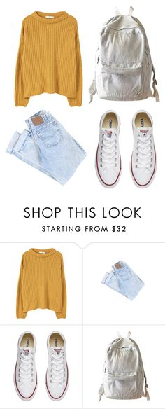 """""""school 2"""" by losaline ❤ liked on Polyvore featuring MANGO, Converse and WithChic"""