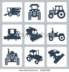 Vector isolated tractor and combine harvester icons - stock vector  Shutter stock. Great images to buy for making cards.