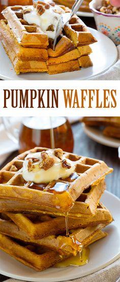 Simple, homemade, delicious Pumpkin Waffles! #waffles #pumpkinwaffles #breakfast #iambaker