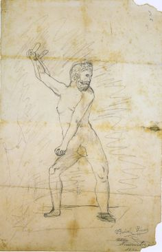 DRAWING AT DUKE: The drawings of Pablo Picasso.  This is one of his first drawings; it is of Hercules.