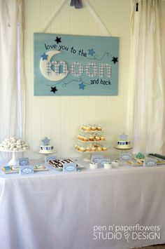 Love You To The Moon and Back baby shower...very sweet & classy