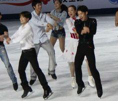 With Tatsuki Machida and Mao Asada.   Cup of China 2012 Grand Finale
