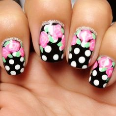 LOVE the flowers & polka dots together! #nails #nailart