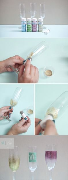 diy glittered wedding champagne wine glasses to sparkle the day