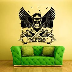 Wall Vinyl Decal Sticker Bedroom Kids Decal Wanted Skull Cowboy Wings Guns z371