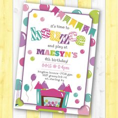 Bouncy House Theme Girl's Birthday Party Invitation Design-Designs by Lea (Bounce House Graphics by Erin Bradley Designs via Etsy)