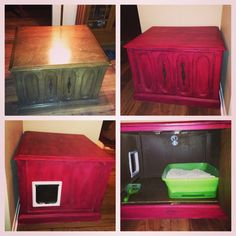 Tired of seeing stinky cat litter boxes? Hiding them is easy! This piece was $20 at Goodwill and repainted with DIY chalk paint!