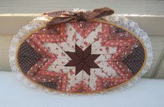 25% OFF !! Vintage Hand Made Fabric Star Quilt Block in Lace Wooden Hoop by Framarines on Etsy