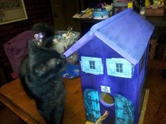 My latest birdhouse project out of re-purposed wood. My cat Mr. GiGi approves