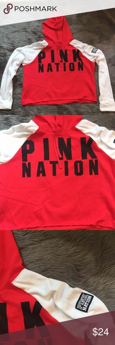 Victoria's Secret Pink Cropped Hoodie Sweatshirt L New without tags! Size large- red and white and black cropped hooded sweatshirt from VS Pink. Pink Nation on the sleeve. PINK Victoria's Secret Tops Sweatshirts & Hoodies
