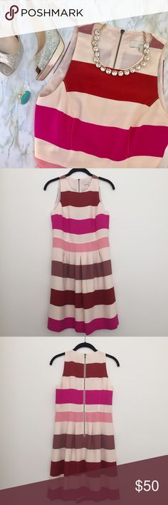 Loft Pink Striped Fit and Flare Dress This stylish dress is great to wear to a bridal or baby shower! Pleated skirt and exposed zipper back. LOFT Dresses