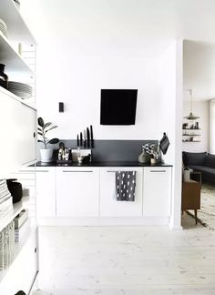 White Theme Room Decoration Modern Kitchen Design, Interior Design Kitchen,  Home Design, Kitchen