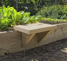 DIY wooden garden seat for raised beds. Easy to build with instructions at http://www.vegetablegardener.com
