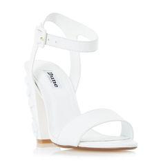 DUNE LADIES MAYFLOWER - Floral Detail Block Heel Sandal - white | Dune Shoes Online