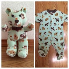 Such a cute idea!! Making a bear out of babies onesie. A lady does it but they have closed the wait list too many people!