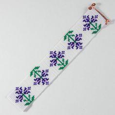 Purple Spring Flowers Bead Loom Bracelet Bohemian by PuebloAndCo