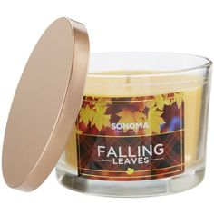 SONOMA Goods for Life™ Falling Leaves 5-oz. Jar Candle ($4.99) ❤ liked on Polyvore featuring home, home decor, candles & candleholders, fall home decor, autumn home decor, colored jars and scented jar candles
