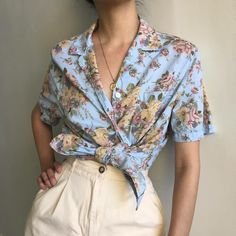 Vintage floral 100% cotton thin short sleeve button up