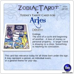 Daily tarot card for Aries from ZodiacTarot! Ok, you know what your sign is.  But do you know what your Birth Moon is?  Visit iFate.com today and find out!  And for all today's ZodiacTarot cards, check out ZodiacTarot.com !