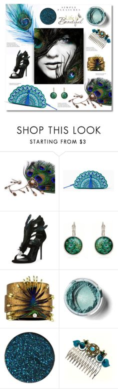 """""""Peacock accessories"""" by magnolialily-prints ❤ liked on Polyvore featuring Kate Spade, Giuseppe Zanotti and Brewster Home Fashions"""