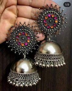 anello in argento zirconi alone Indian Jewelry Earrings, Indian Jewelry Sets, Silver Jewellery Indian, Jewelry Design Earrings, Fashion Earrings, Fashion Jewelry, Silver Earrings, Silver Jewelry, Tribal Earrings