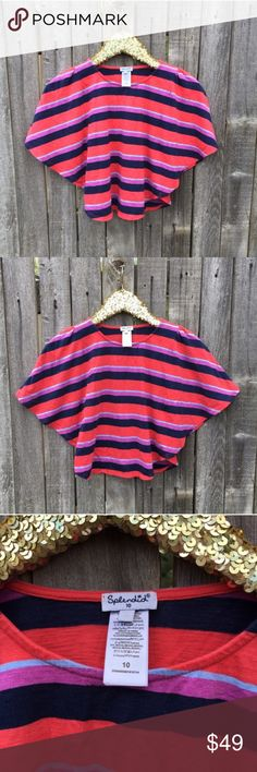 """{Splendid} Red Stripe Batwing Crop Top M EUC! Flawless! Fun, flirty crop top with pretty, colorful stripes. Bat wing style or poncho inspired silhouette. Flowy, feminine and flattering. Poppy red/orange, navy, periwinkle and violet. 15"""" pit to pit, 18"""" shoulder to hem length, 10"""" flared, batwing sleeves. UK Size 10, fits like a US Medium. (Pictured--I am a Small!) Splendid brand carried at Nordstrom. 60% Cotton, 40% Modal. Machine wash cold, tumble dry low. Offers warmly welcomed…"""