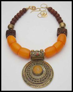 HIMALAYA - Handmade Tibetan Pendant Inlaid with Gems - Amber Resin - African Beads Necklace