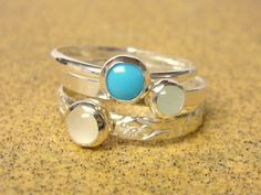 Sterling silver gemstone stacking rings set of 3 by WatchMeWorld