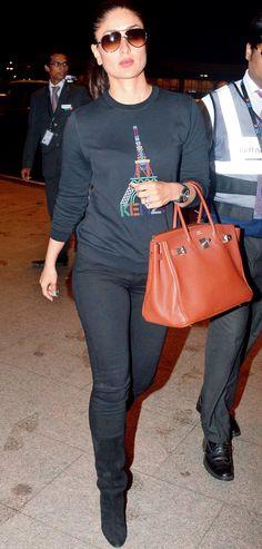 be50926db386 Kareena Kapoor in an all-black look at the Mumbai airport.  Bollywood
