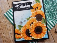 Here is the beautiful Fresh Cut Sunflowers Stamp Set from The Ton Stamps. They are one of my favorite companies for layering stamps! The Ton Stamps, Birthday Cards, Happy Birthday, Sunflower Cards, Broken China, Card Tutorials, Blue Backgrounds, Stampin Up Cards, Flower Power