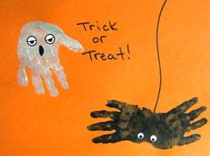 Can't forget to do the annual handprint spiders... this site has other preschool-level crafts for Halloween, too.