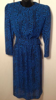 Vintage Blue Cheetah Print Dress with Snap Belt USA Made Womens Size 10 #Cheetah