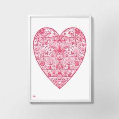 Bold & Noble My Heart Print - Raspberry Sorbet - Bold & Noble from eggcup & blanket UK