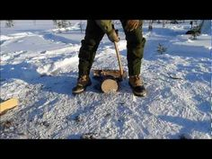 Axe Techniques: Firewood Splitting on Snow.  Frontier Bushcraft instructor Paul Kirtley demonstrates some key winter axe techniques.  Learn more here: http://paulkirtley.co.uk/2012/splitting-firewood-on-snow/