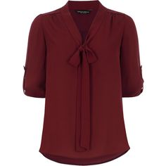 Dorothy Perkins Wine pussybow blouse ($27) ❤ liked on Polyvore featuring tops, blouses, shirts, blusas, red, women tops, bow collar shirt, red blouse, wine top and bow neck blouse