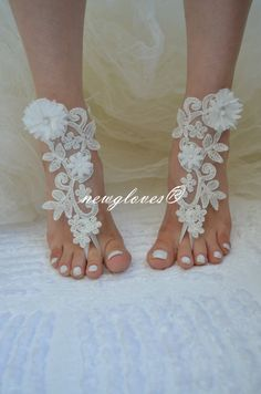 ivory Beach wedding by newgloves Bridesmaid Sandals, Bridesmaid Gifts, Nude Sandals, Bare Foot Sandals, Beach Shoes, Dream Wedding Dresses, Anklets, Barefoot, Gloves