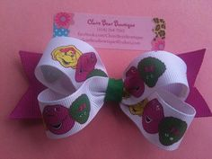 Barney and Friends Hair Bow by ClaireBearBowtique on Etsy, $4.40