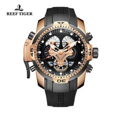 Amazon.com: Reef Tiger Men's Sport Watch Rubber Strap Complicated Watches Rose Gold Autoamtic Watches RGA3503 (RGA3503-PBBG): Watches