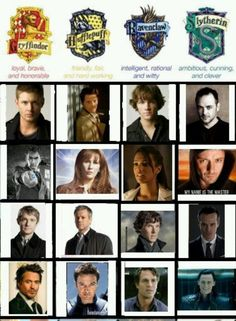 Gryffindor! We win. We have Dean, the Doctor, Dr. John Watson, and RDJ/Tony Stark/Iron Man/Sherlock Holmes.