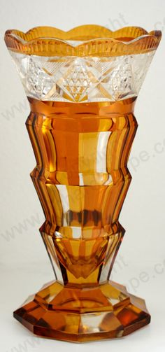Vintage Amber Glass. Czechoslovakian facet cut vase, c.1930s. To visit my website click here: http://www.richardhoppe.co.uk or for help or information email us here: info@richardhoppe.co.uk