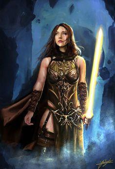 f Half Wood Elf Rogue Theif Leather Armor Cloak Sword dungeon midlvl Jackie Felix