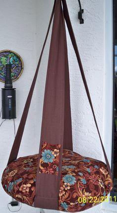 Chat lit Kitty seul nuage chat lit rétro brun & bleu fleur imprimer suspendu chat lit, meubles d'animal familier