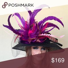 Black Pink Purple Kentucky Derby Hat Black base hat with custom feathers to match any outfit. Jenifer Buckley Hats Accessories Hats