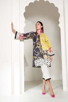Printed Luxury Lawn Shirt m Dyed Textured Cambric Trouser m Embroidered Border 1 m Embroidered Patti 1 m Pakistani Dresses Casual, Pakistani Dress Design, Beauty Tips For Glowing Skin, Textile Prints, Printed Shirts, Designer Dresses, Sapphire, Kimono Top, Fashion Dresses