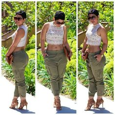 Tummy shirt nice army green pants with heels to accent the outfit!