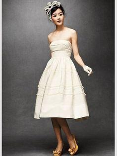 Robe de mariée en soie et coton, BHLDN - Je me marie en robe courte - Photos Mode - Be.com