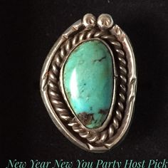 Vintage Sterling Old Pawn Turquoise Navajo Ring Wear a work of art when you slip on this ring. Vintage old pawn sterling silver Navajo Native American Turquoise Ring. Size is 7.  The eye catching beauty of vibrant turquoise is surrounded by a sterling silver rope design that will capture your attention. A vintage ring with endless appeal that is versatile and mesmerizing. Vintage Jewelry Rings