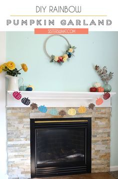 a fun and easy pumpkin garland you can make. Perfect for a quick fall craft project. Make this rainbow pumpkin craft in a short afternoon. Pumpkin Crafts, Fall Crafts, Holiday Crafts, Holiday Fun, Crafts For Kids, Diy Pumpkin, Holiday Ideas, Craft Tutorials, Sewing Tutorials